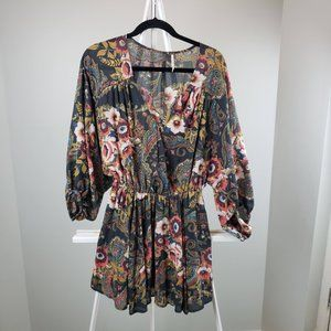 Free People Floral  Wrap Front Tunic Size XS